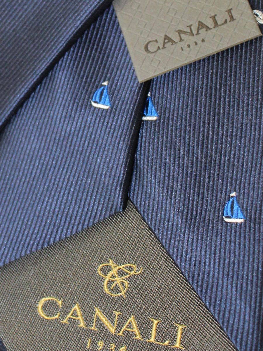Canali Silk Tie Navy Sailboat Design