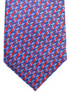 Canali Silk Tie Royal Blue Red Geometric Design