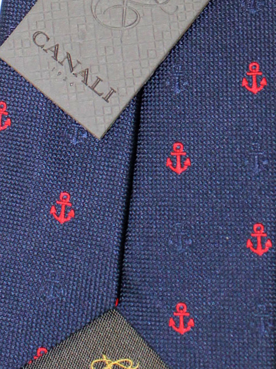 Canali Silk Tie Navy Red Anchor Design