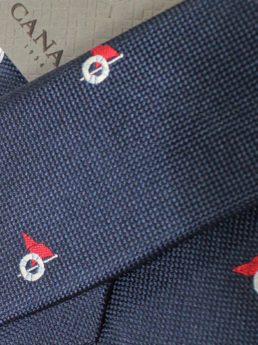 Canali Silk Tie Navy Red Silver Buoy Design