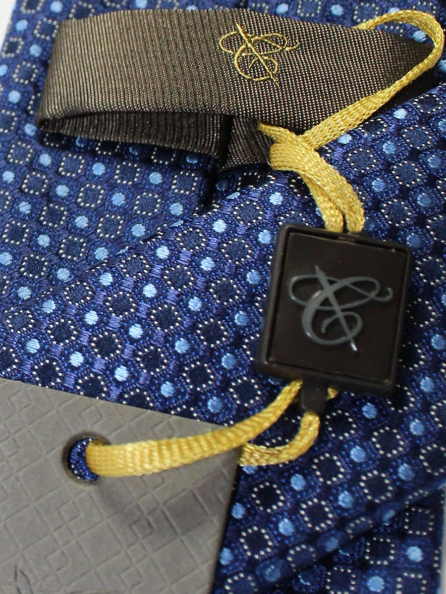 Canali Silk Tie Navy Blue Silver Geometric Design