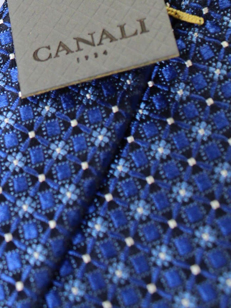 Canali Tie Navy Blue Silver Geometric Design