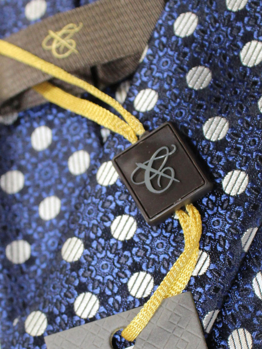 Canali Tie Dark Blue Black Silver Geometric Design