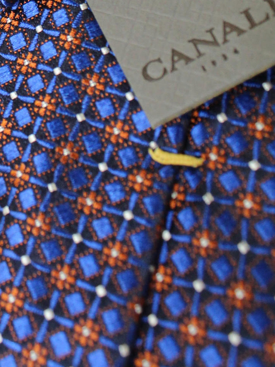 Canali Necktie Lapis Orange Geometric Design