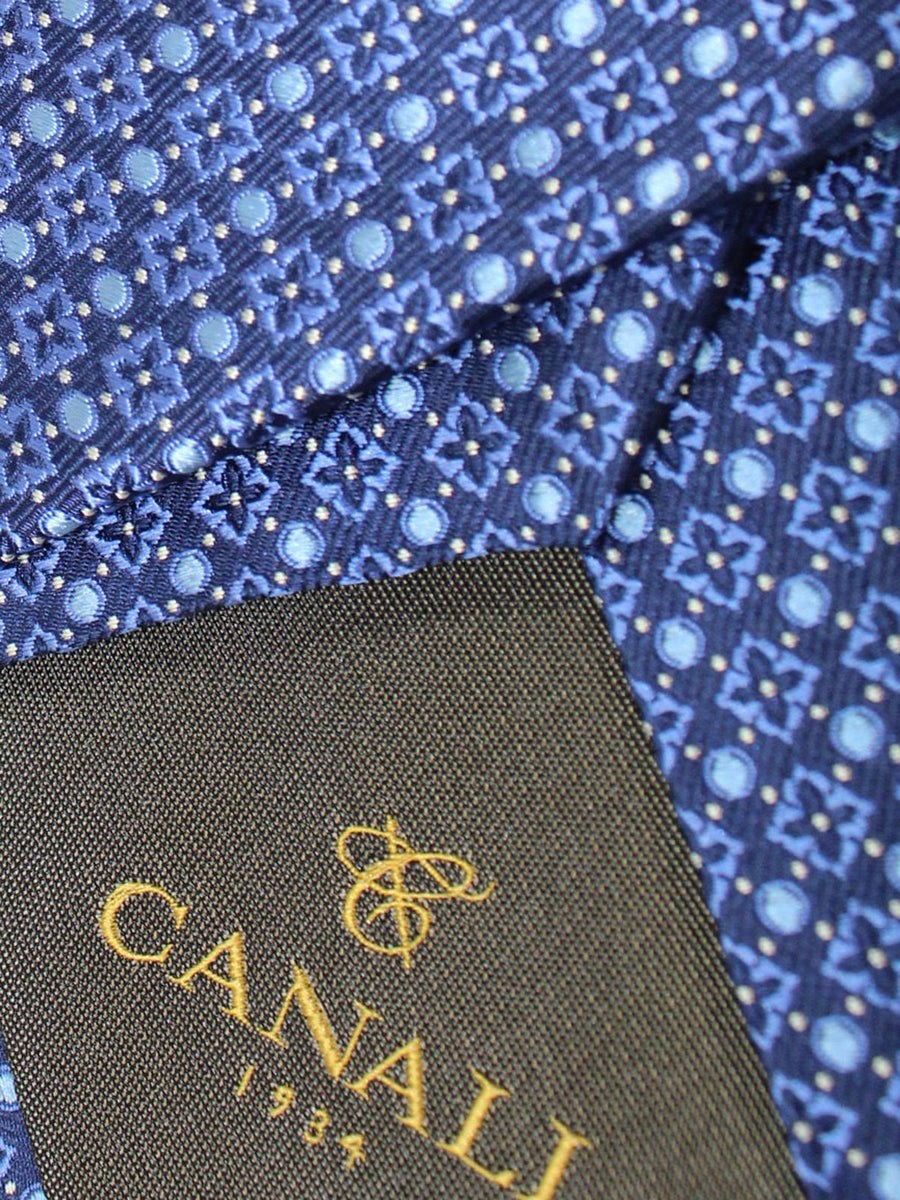 Canali Necktie Navy Blue Geometric Design