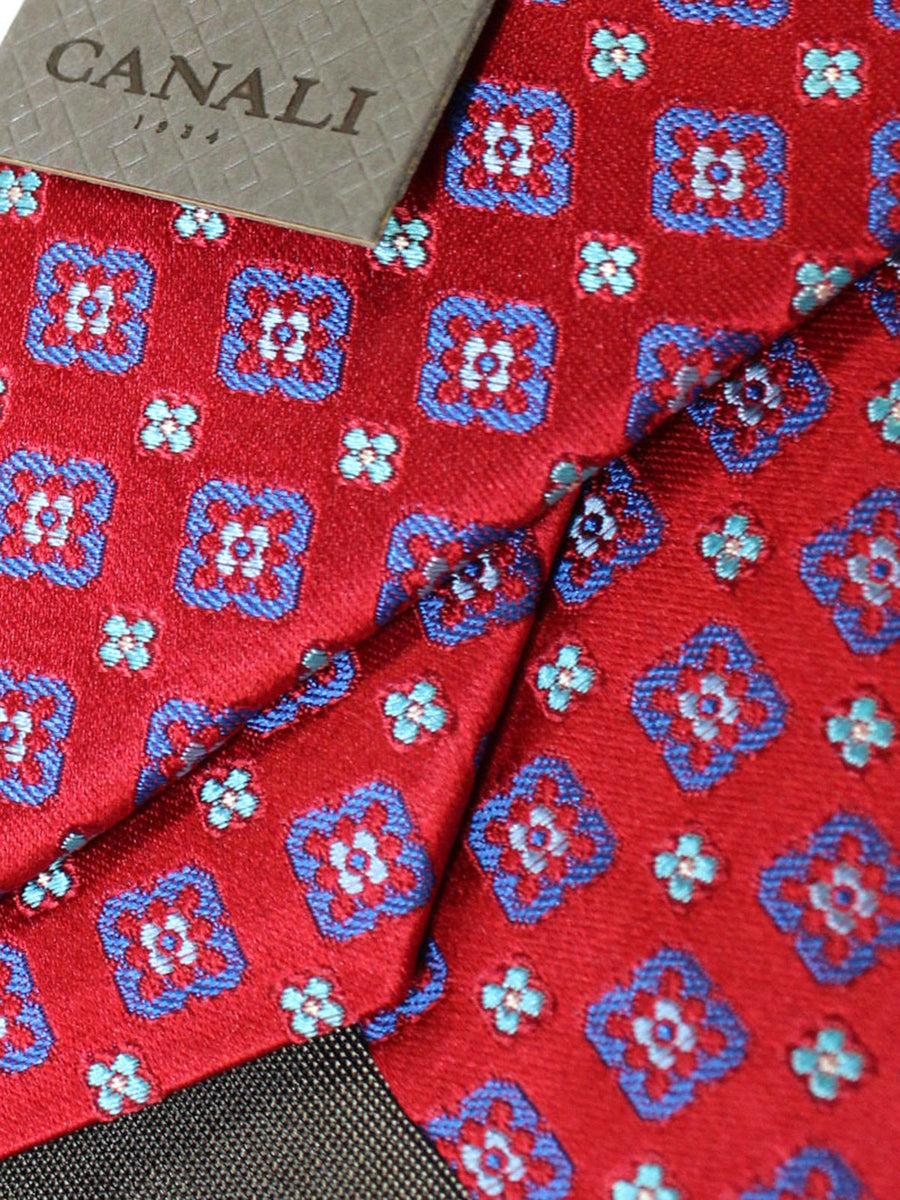 Canali Necktie Red Navy Aqua Geometric Design