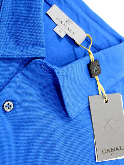 Canali Polo Shirt Royal Blue Cotton Short Sleeve 48 / S SALE