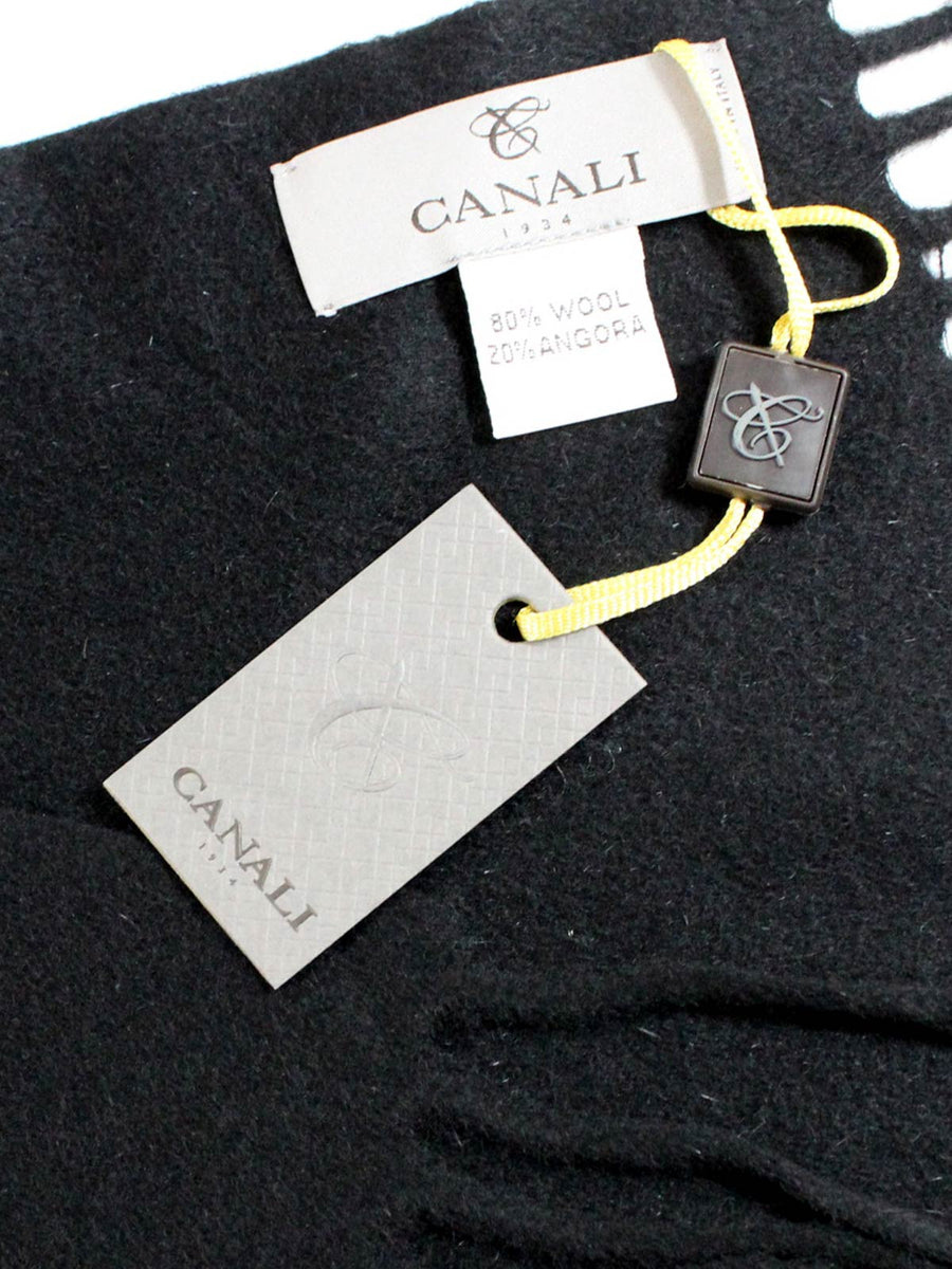 Canali Scarf Solid Black Angora Wool