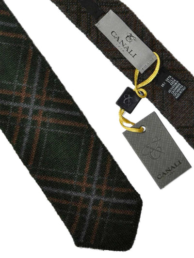 Canali Tie Brown Gray Green Plaid Cashmere Silk Tie