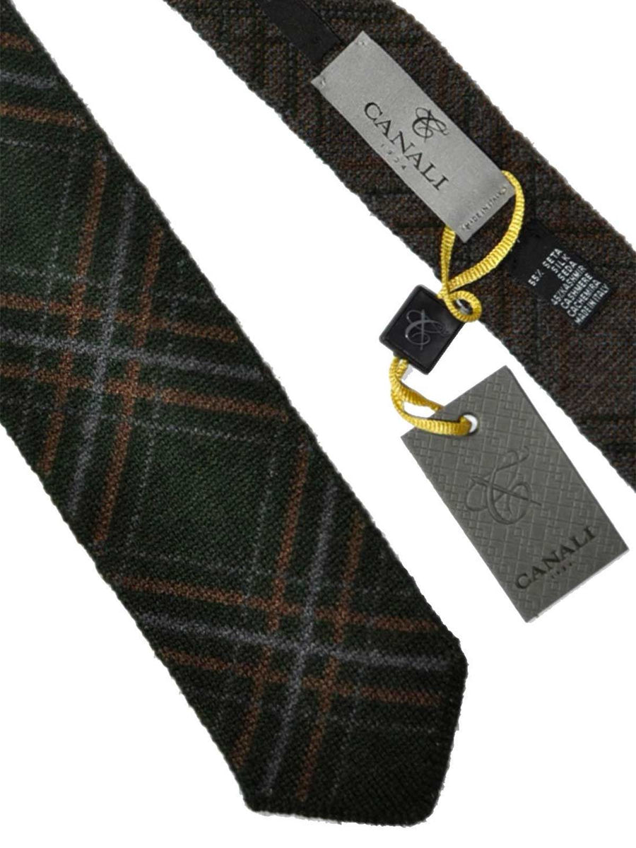 Canali Sevenfold Tie Brown Gray Green Plaid Silk Exclusive Collection