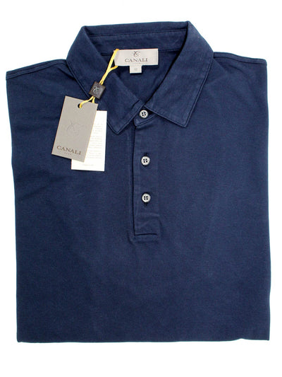 Canali Polo Shirt Navy Cotton Short Sleeve Polo Shirt