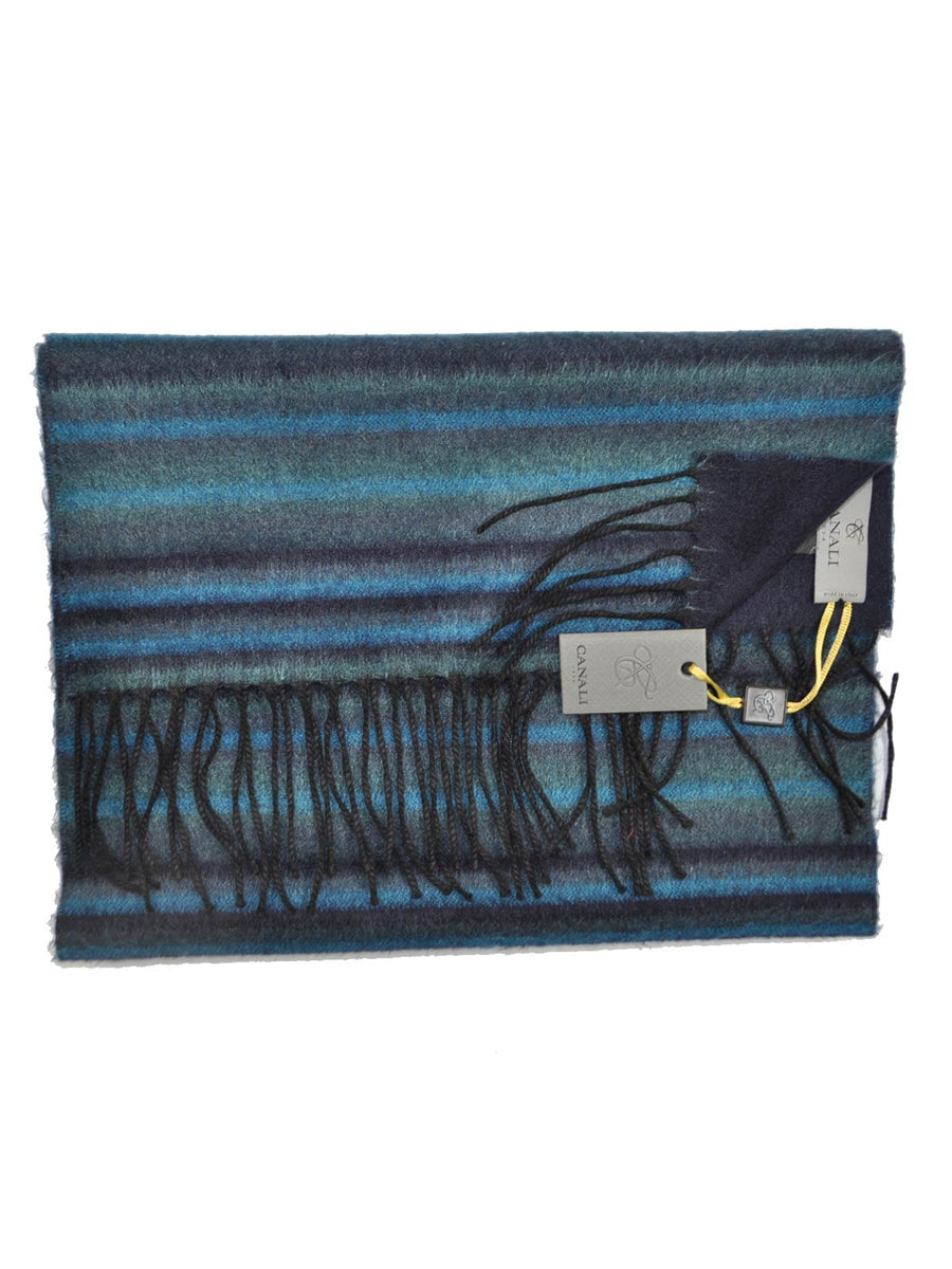 Canali Scarf Navy Teal Gray Stripes Reversible Cashmere Silk Shawl