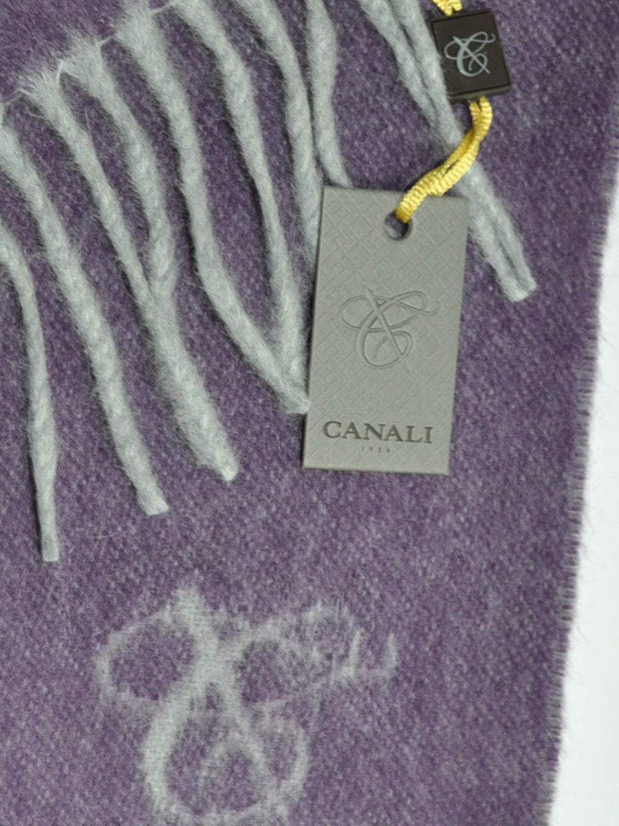 Canali Angora Wool Scarf Solid Purple Gray