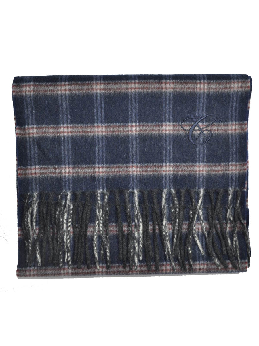 Canali Angora Wool Scarf Navy Gray Burgundy Plaid