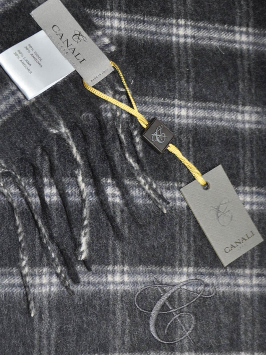 Canali Angora Wool Scarf Gray Plaid