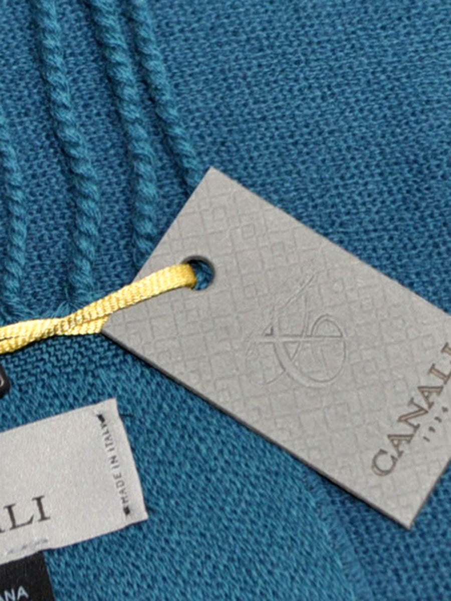 Canali Wool Scarf Teal Blue