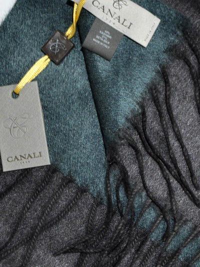 Canali Scarf Gray Teal-Blue Reversible Cashmere Silk Shawl