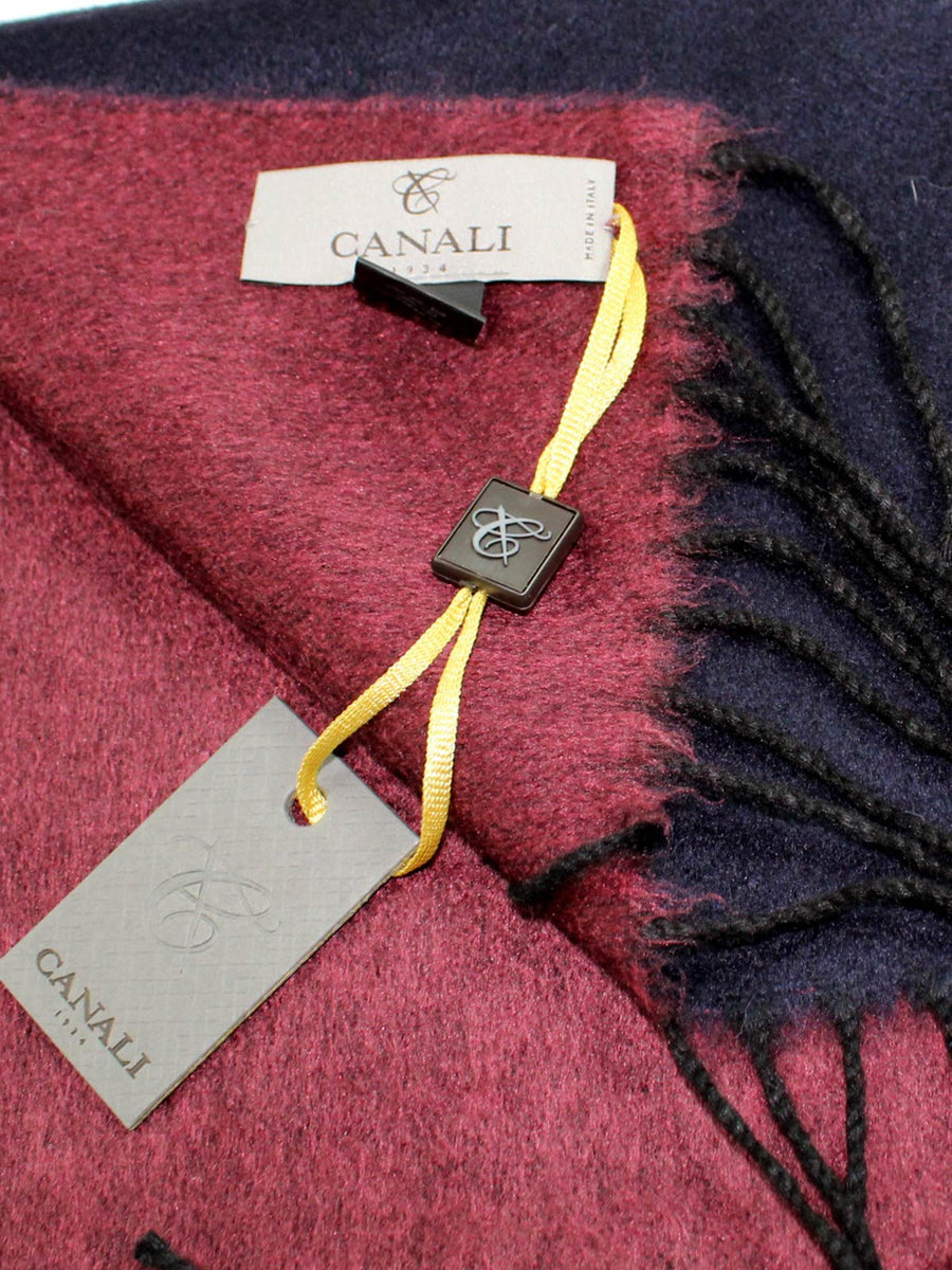 Canali Scarf Solid Maroon Purple Cashmere Silk