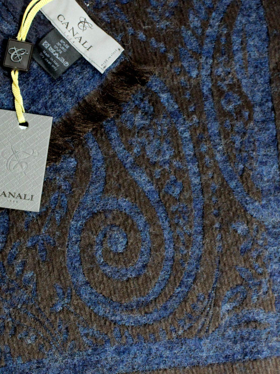 Canali Scarf Midnight Blue Brown Oversized Paisley Silk Woo