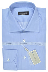 Canali Dress Shirt White Navy Stripes - Modern Fit