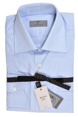 Canali Dress Shirt Solid Blue 39 - 15 1/2 Modern Fit