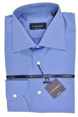 Canali Dress Shirt Solid Blue 39 - 15 1/2