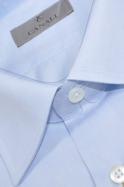Canali Dress Shirt Light Blue - Modern Fit Dress Shirt 45 - 17 3/4 SALE