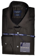 GENUINE Canali Shirt Dark Brown Stretch