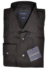 Canali Shirt Solid Dark Brown Stretch 41 - 16 SALE