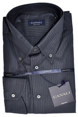 Canali Dress Shirt Gray Stripes Button-Down Collar