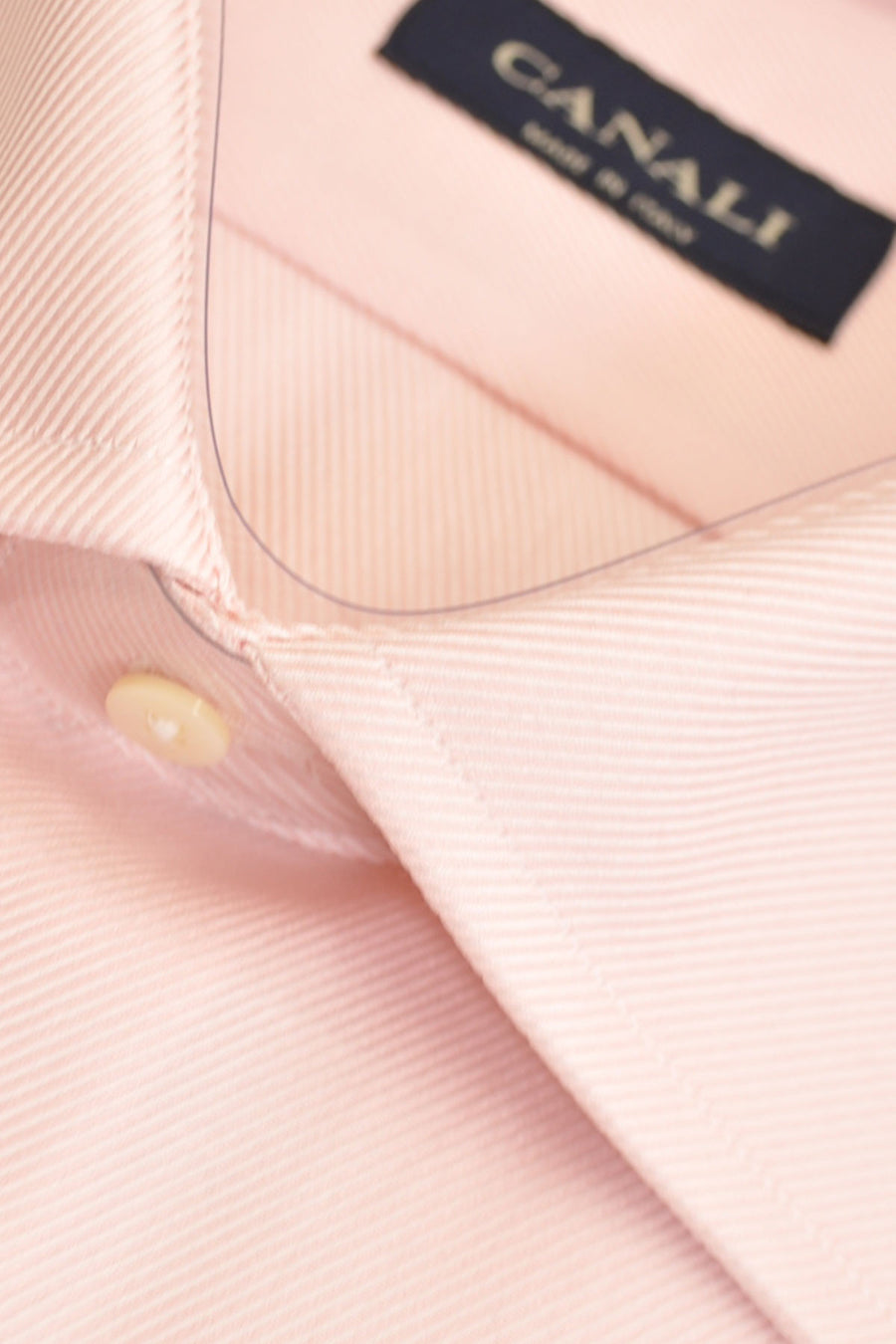 Canali Dress Shirt Solid Pink Stripes 44 - 17 1/2 SALE