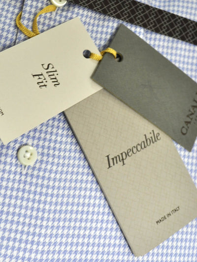Canali Shirt White Periwinkle Blue Houndstooth Impeccable - Slim Fit Dress Shirt 44 - 17 1/2
