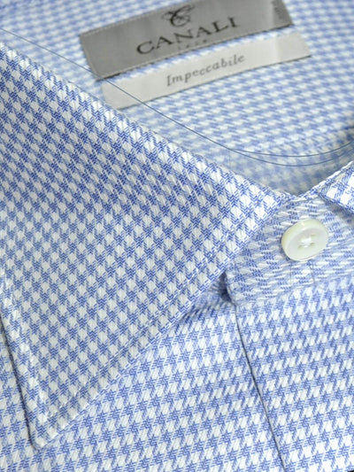Canali Shirt White Periwinkle Blue Houndstooth