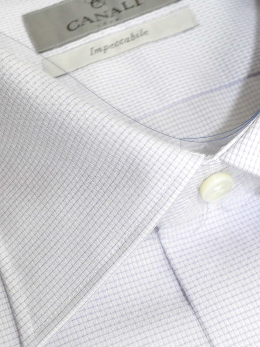 Canali Shirt White Purple Mini Grid Impeccable - Slim Fit Dress Shirt 40 - 15 3/4 SALE