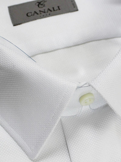 Canali Dress Shirt Solid White Slim Fit 44 - 17 1/2 SALE