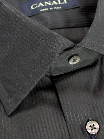 Canali Dress Shirt Black Gray Stripes - REDUCED 40 - 15 3/4 - SALE