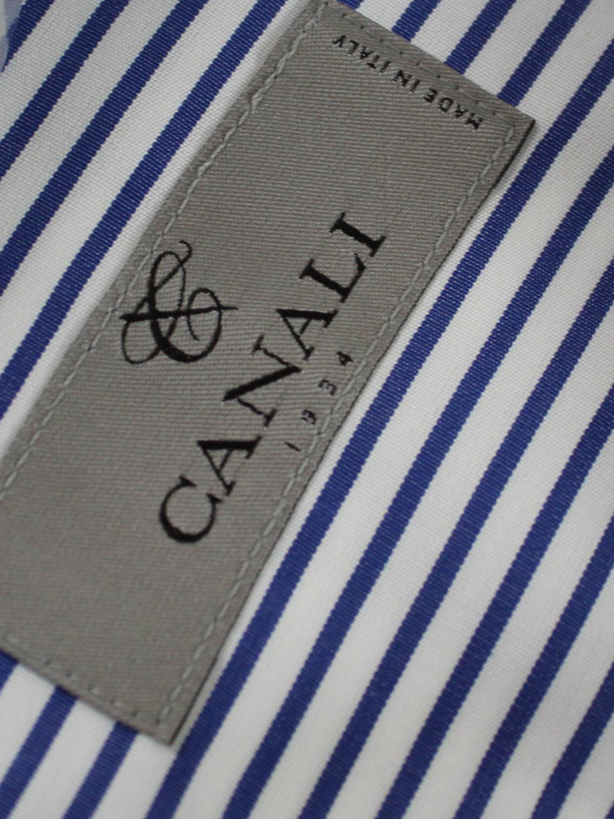 Canali Dress Shirt White Navy Stripes Slim Fit New