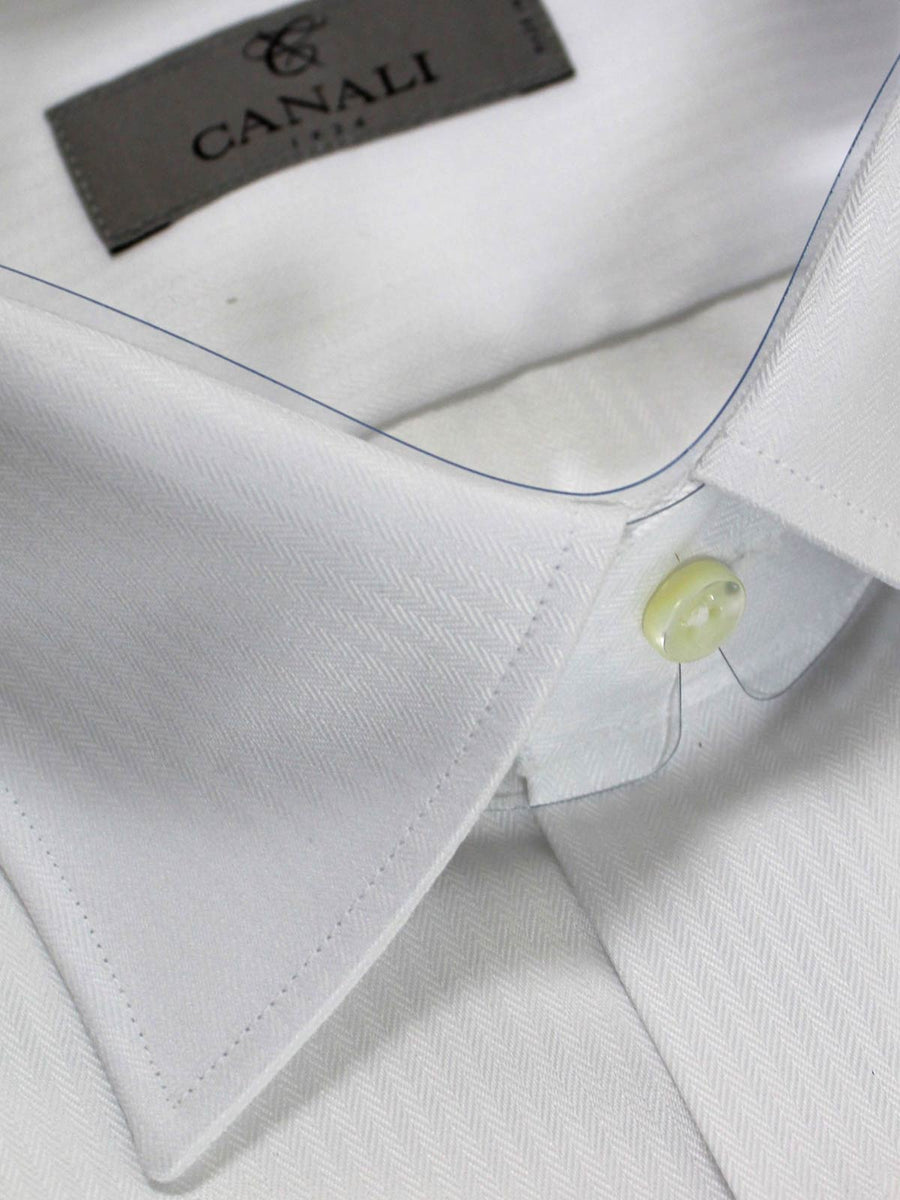 Canali Dress Shirt Solid White Design Slim Fit