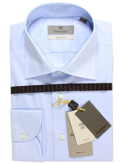 Canali Dress Shirt Light Blue Slim Fit Impeccable