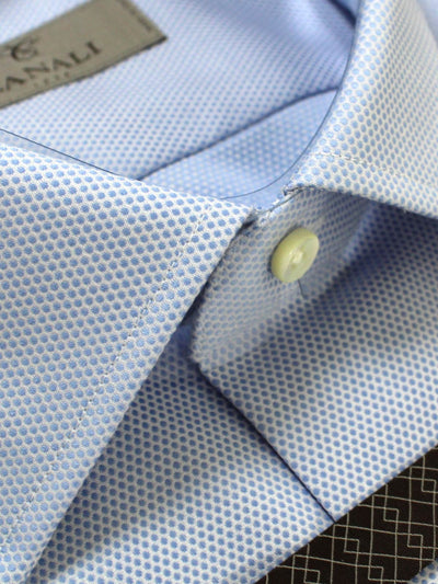 Canali Dress Shirt Blue Pattern