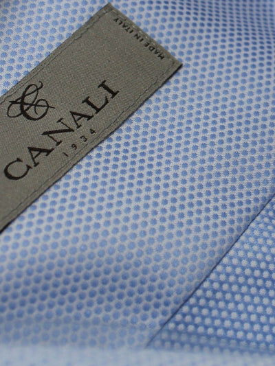 Canali Dress Shirt Blue Pattern Made  In Italy