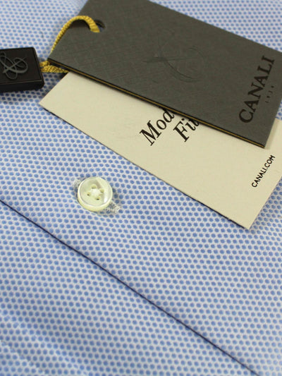 Canali Dress Shirt Blue Pattern - Modern Fit 44 - 17 1/2
