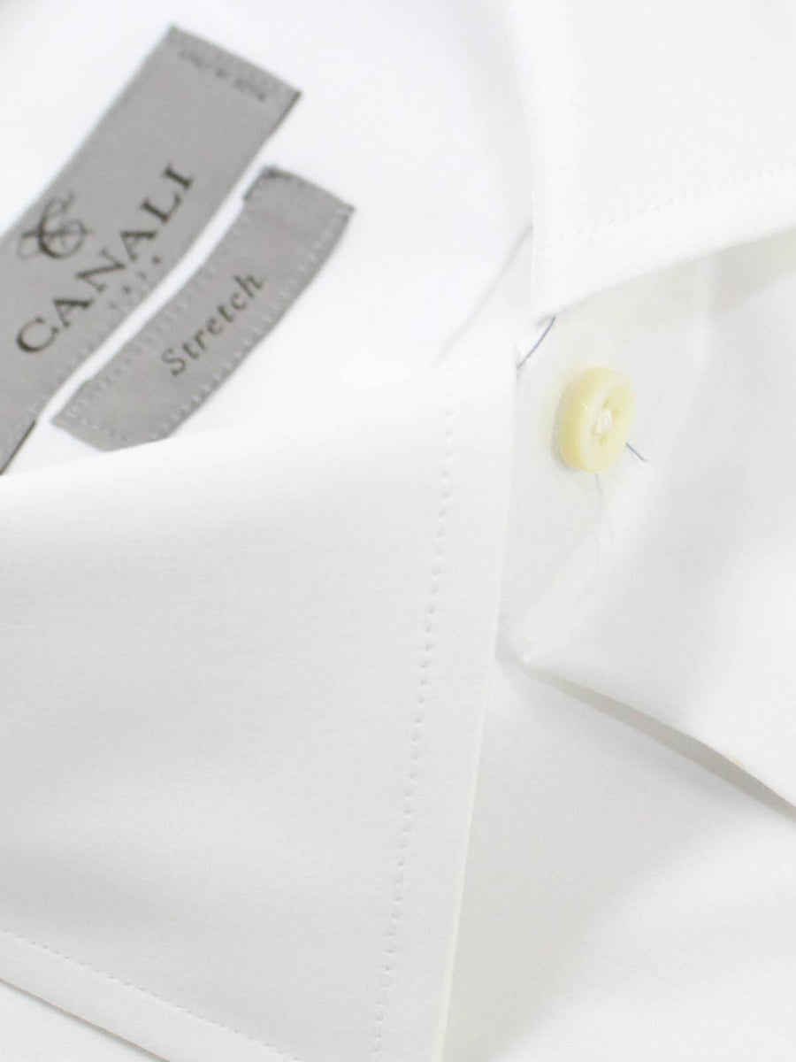 Canali Dress Shirt Solid White Modern Fit Stretch