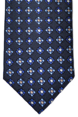 Genuine Canali Tie Navy Blue Geometric Design