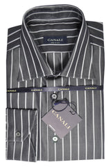 Canali Dress Shirt Gray Stripes 43 - 17