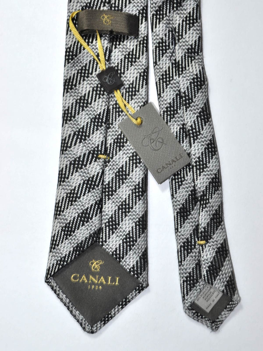 Canali Silk Tie Black Silver Check FINAL SALE