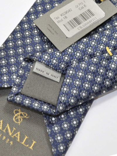 Canali Silk Tie Midnight Blue Gray