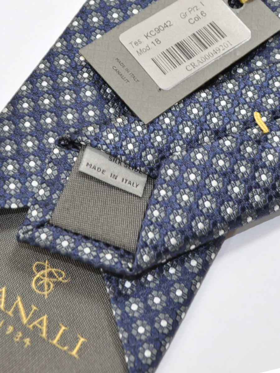 Canali Silk Tie Midnight Blue Gray Geometric Flowers Design