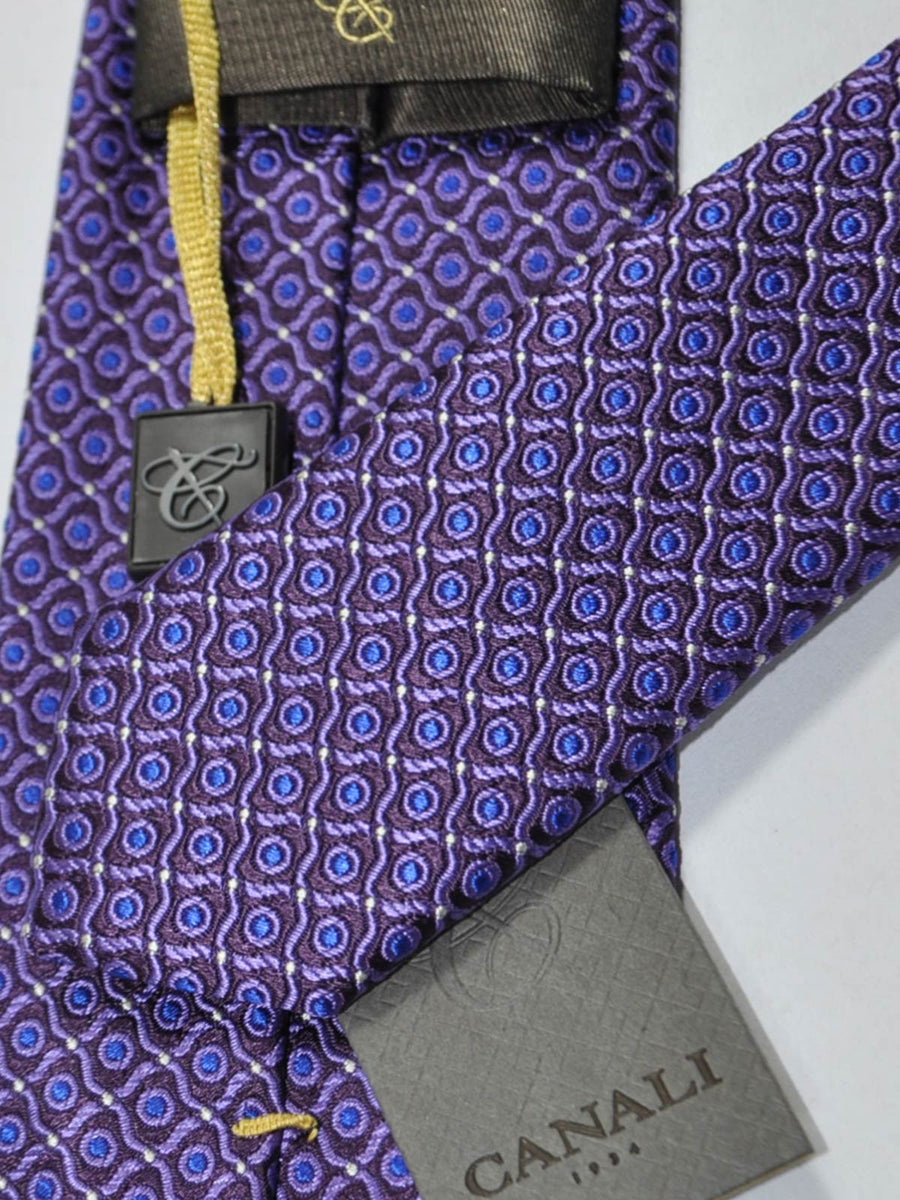 Canali Tie Purple Royal Blue Silver Design
