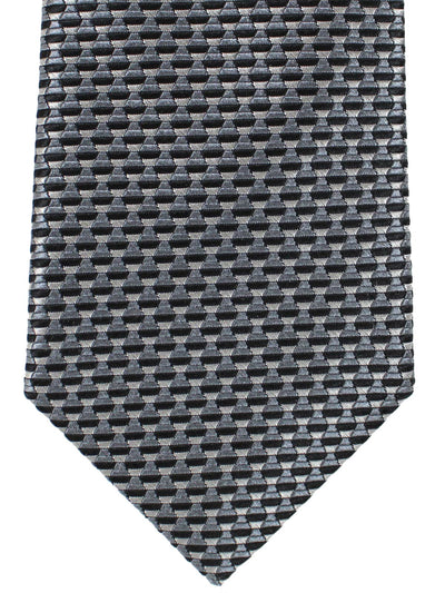Canali Silk Tie Gray Black Geometric